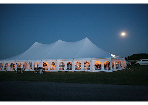 High Peak Wedding Tent at Dusk