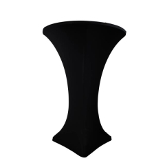 Rental store for SPANDEX COCKTAIL TABLE LINEN, BLACK in Peoria IL