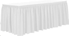 Rental store for 16  WHITE TABLE STAGE SKIRT in Peoria IL